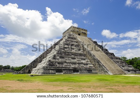 Most famous Mexican ruins at Chichen Itza - stock photo