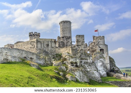 Most famous the old castle ruins of Ogrodzieniec near Krakow fortifications, Poland. - stock photo