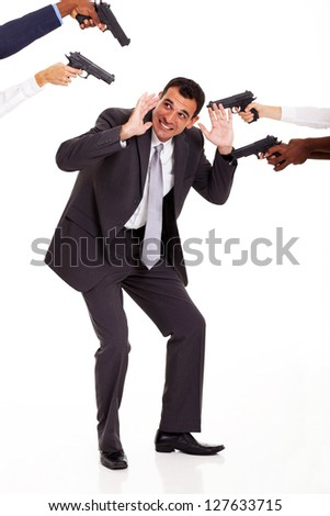 most hated colleague being attacked by others at gun point