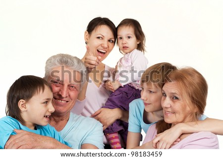 Most luck Caucasian family happy fool on a light background