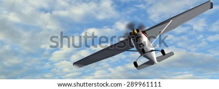 most popular light aircraft ever built with overhead wing and single propeller in fly