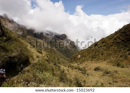most popular of the Inca trails for trekking is the Capaq Ã?Â?an trail, which leads from the village of Ollantaytambo to Machu Picchu - stock photo