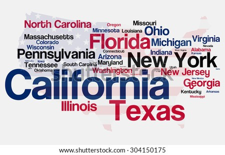 Most Populated States of the USA with Flag Map Background - stock photo