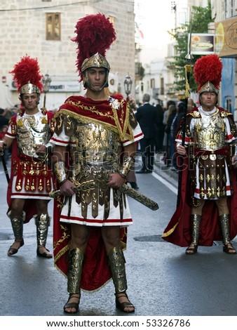 MOSTA, MALTA - APR 04: Roman centurion during the Good Friday procesion in Mosta in Malta April 04, 2010 - stock photo