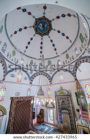 Mostar, Bosnia and Herzegovina - August 25, 2015: interior of Koski Mehmed Pasha Mosque in Mostar city