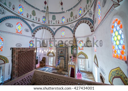 Mostar, Bosnia and Herzegovina - August 25, 2015: interior of Koski Mehmed Pasha Mosque in Mostar city - stock photo