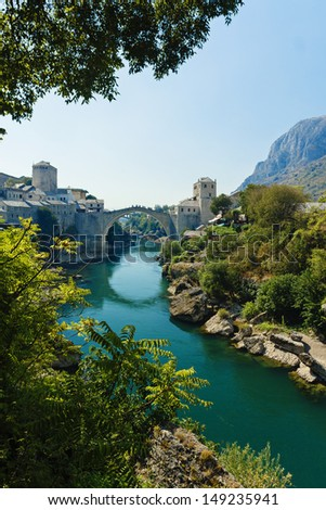 Mostar Bridge on Neretva River - Bosnia and Herzegovina - stock photo