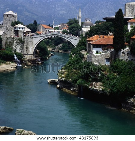 Mostar with famous bridge - stock photo