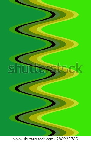 Mostly green abstract of light trails that form a corkscrew for decoration and background with motifs of simplicity, fluidity, symmetry  - stock photo