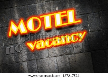 Motel Cottage Inn Motel neon light Sign - stock photo