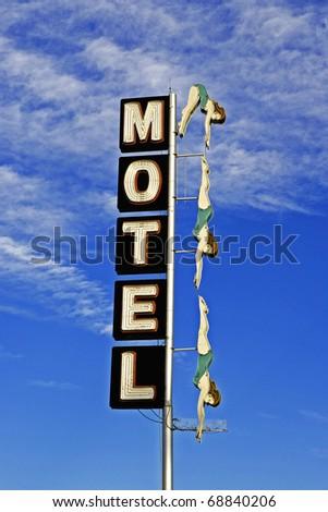 Motel Diving Woman, Neon - stock photo
