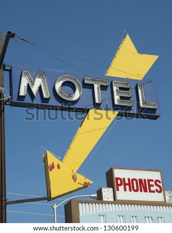 Motel Neon Sign Old Signs - stock photo