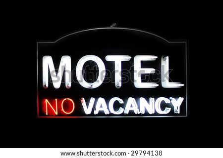 Motel no vacancy neon sign - stock photo