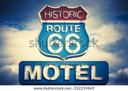 motel spirit in historic 66 road, USA - stock photo