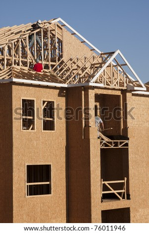 motel under construction - stock photo