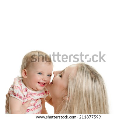 Mother and baby are playing on white background