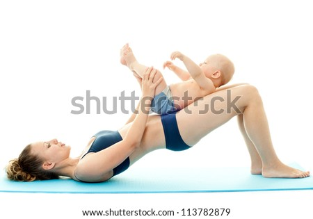 Mother and baby doing exercise