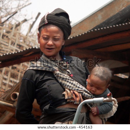 Mother and baby from Enn-Tribe Village Myanmar (Burma)