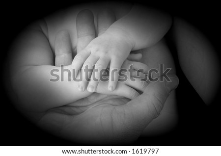 Mother and Baby Hands - stock photo