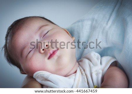 Mother and baby, Lovely asian girl resting on her mother. - stock photo