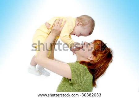 mother and baby on white - stock photo