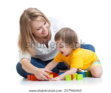 mother and baby playing having fun pastime isolated - stock photo