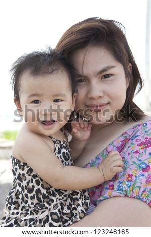 mother and baby  with nice face happiness emotion