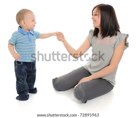 Mother and boy. Isolated on white background.