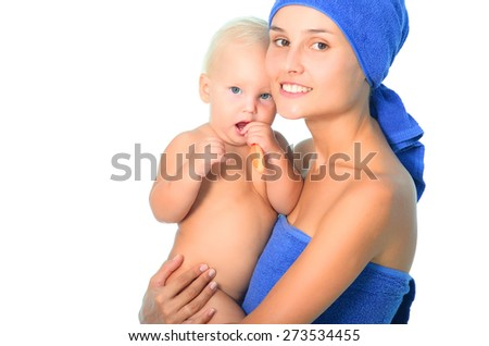 Mother and child brushing teeth - stock photo