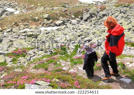 Mother and child hiking amongst rocks and flowers on the mountain trail - stock photo