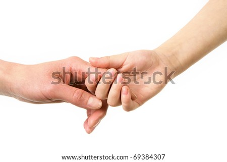 Mother and child hold by hands on a white background - stock photo