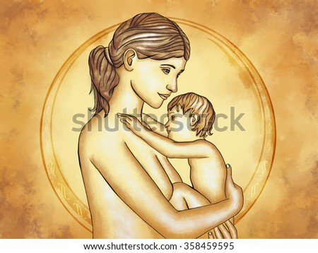 Mother and child hugging. Digital illustration. - stock photo