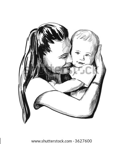 Mother and child illustration - stock photo