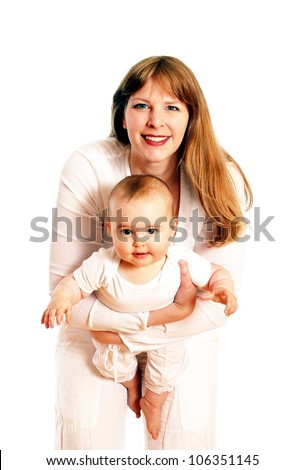 Mother and child in with dress - stock photo