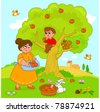 Mother and child picking apples. Funny cartoon illustration. - stock photo