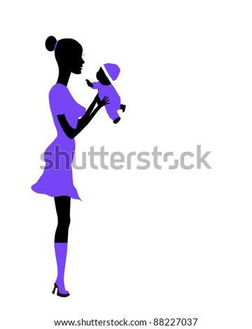 mother and child Raster version - stock photo