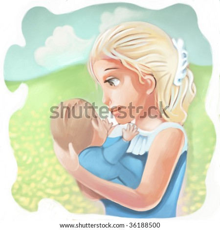 mother and child (search the word nikos for more) - stock photo