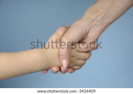 Mother and child shake hands against a blue background