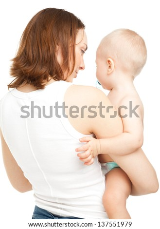 Mother and child standing back on camera isolated on white - stock photo