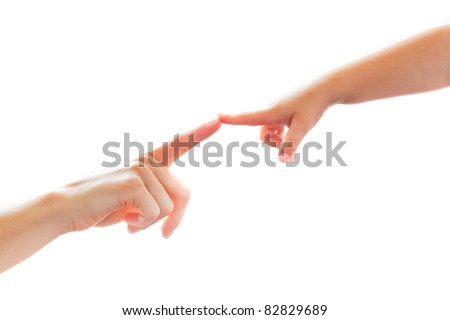 Mother and Child touching finger on finger isolated on white Background - stock photo