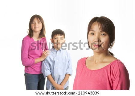 Mother and children. - stock photo