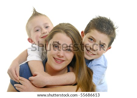 Mother and children hugging isolated on white. - stock photo