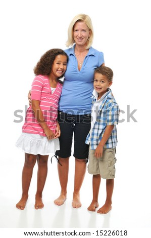 Mother and children posing isolated on a white background - stock photo