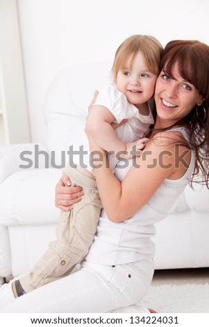 Mother and daughter at home