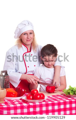 Mother and daughter cooking dinner, white backgroung