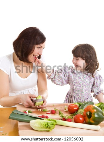 mother and daughter cooking salad at the kitchen
