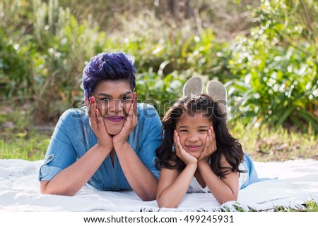 Mother and daughter cute portrait