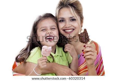 Mother And Daughter eating Ice Cream isolated on white - stock photo