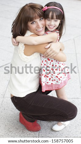 mother and daughter embraced