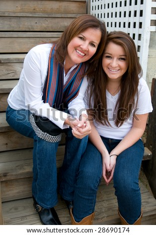 Mother and daughter enjoy their time together - stock photo